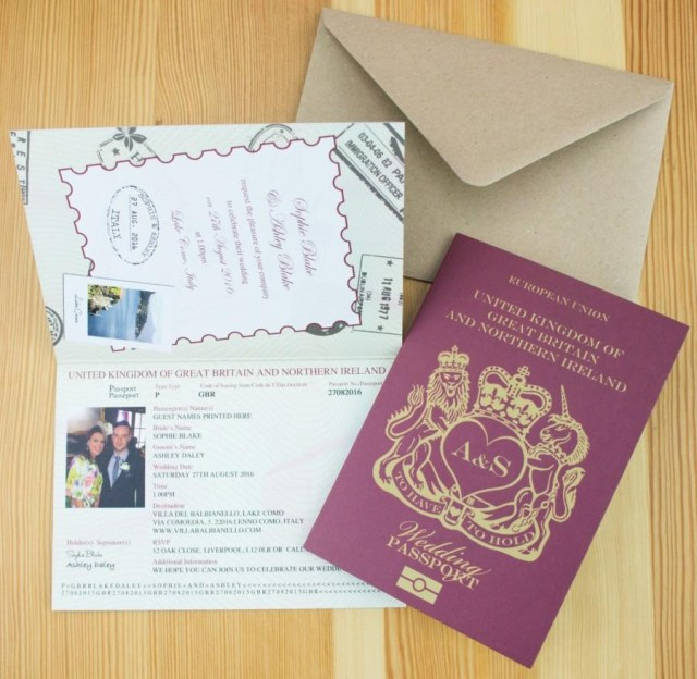 Passport Wedding Invitations Personalised Passport Wedding Invitations Uk 2681328 Weddbook