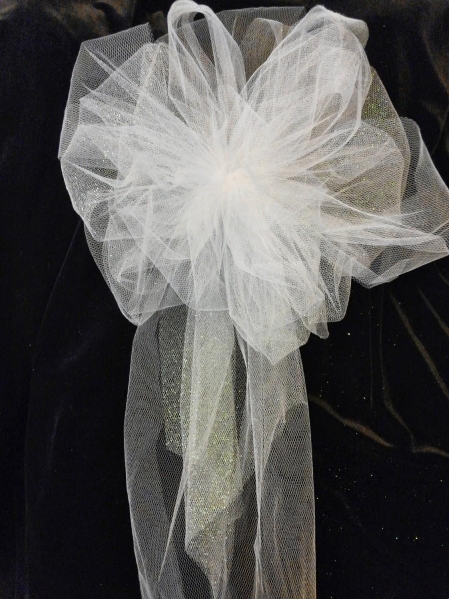 Pew Decorations For Weddings Wedding Pew Bows White Or Any Color You Choose Tule Bows With