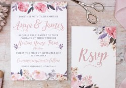 Pink And Gold Wedding Invitations Rose Gold Floral Heirloom Wedding Invitation Nina Thomas Studio