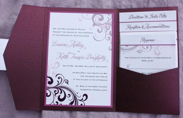 Pocketfold Wedding Invitations Eggplant Merlot Sangria Lavender Blush Pink Swirl Pocketfold