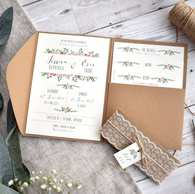 Pocketfold Wedding Invitations Floral And Kraft Wedding Invitation Set Oops A Doodle