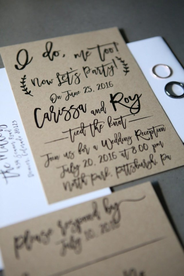 Post Wedding Party Invitations I Do Me Too Now Lets Party Elopement Wedding Announcement Post