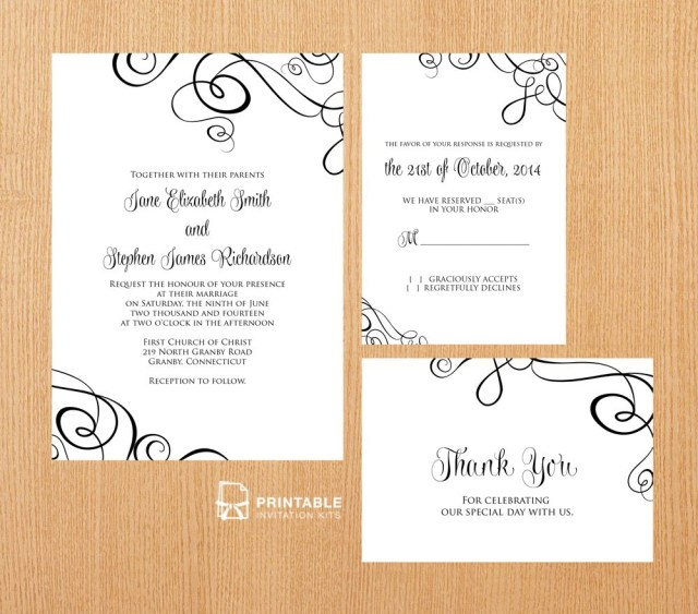 Print At Home Wedding Invitations Free Pdf Templates Easy To Edit And Print At Home Elegant Ribbon