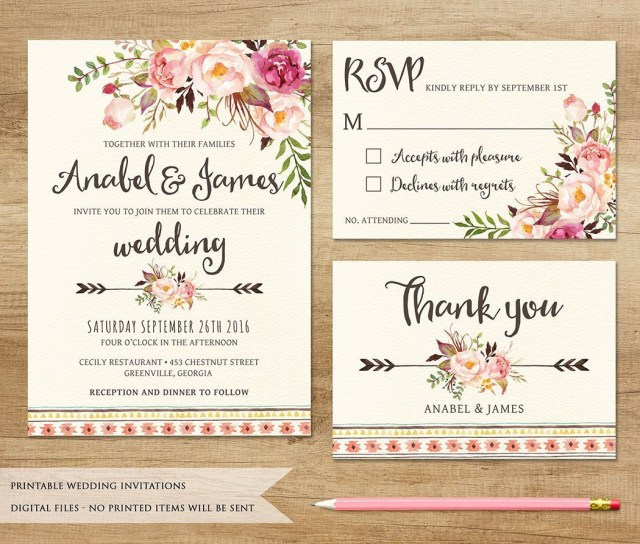 Printable Wedding Invitation Floral Wedding Invitation Printable Wedding Invitation Etsy