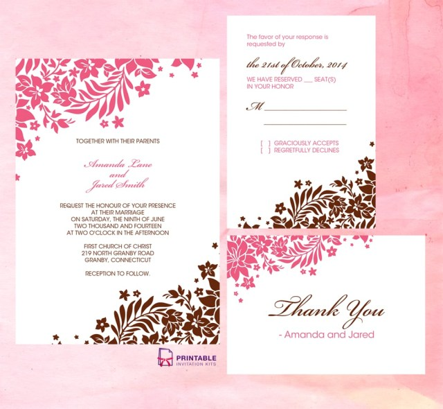 Printable Wedding Invitation Pink And Brown Foliage Wedding Invitation Free Printable Wedding