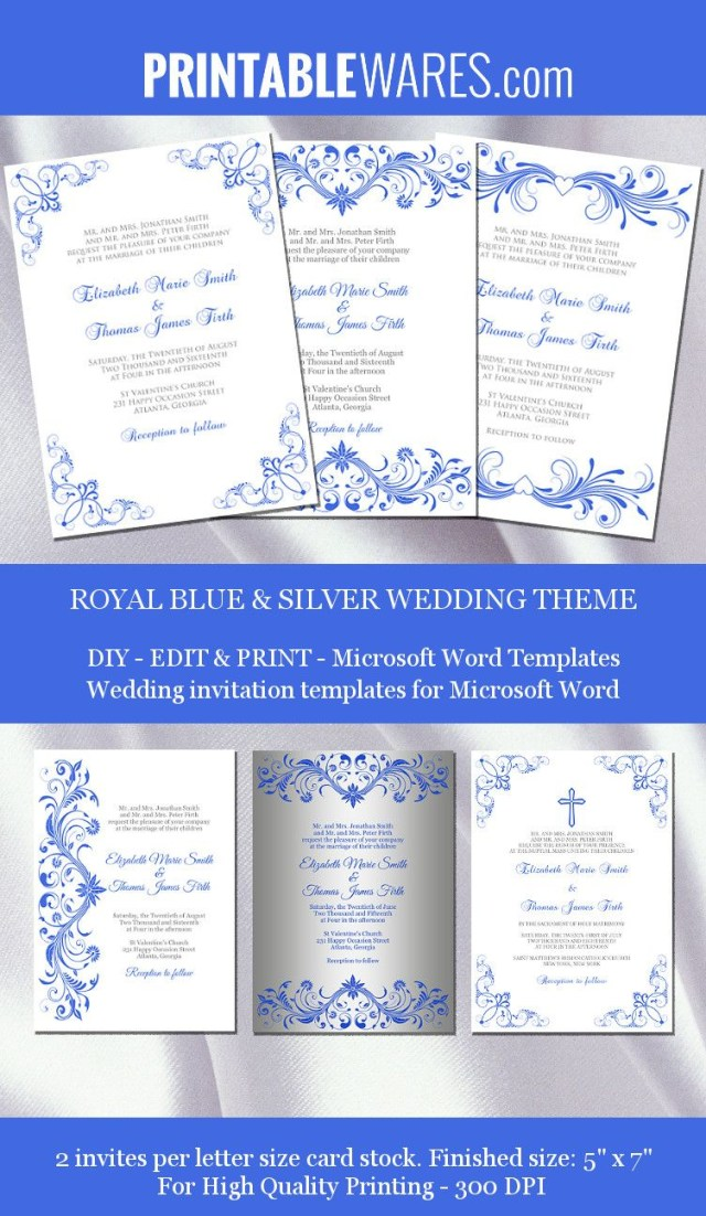 Printable Wedding Invitations Templates Royal Blue And Silver Wedding Invitation Templates For Microsoft