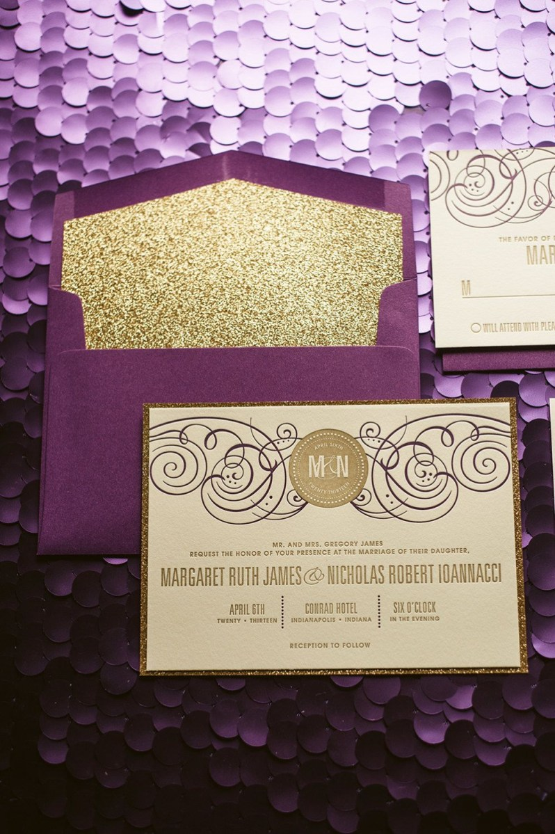 30+ Creative Picture of Purple And Gold Wedding Invitations