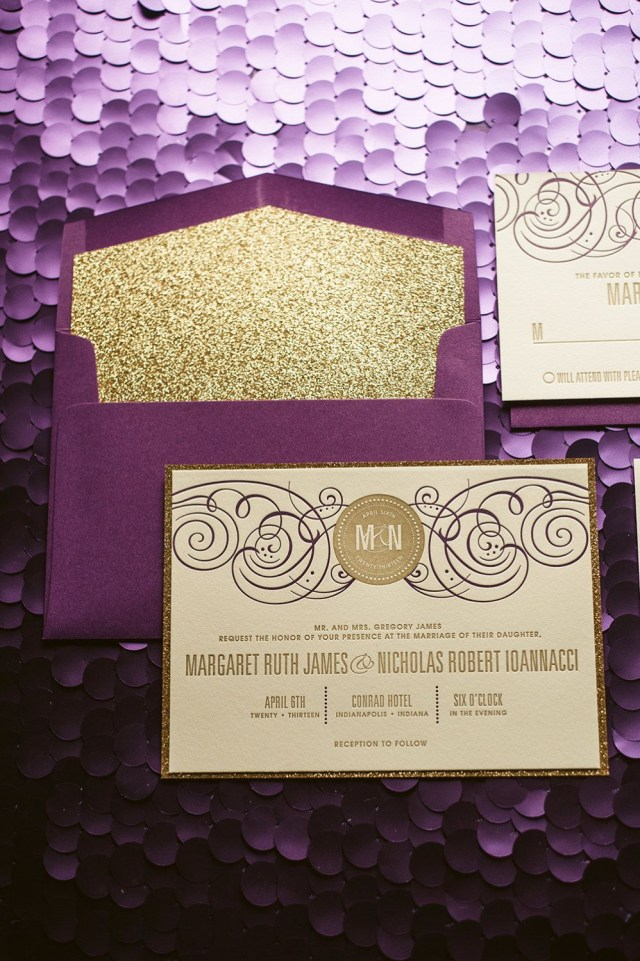 Purple And Gold Wedding Invitations Purple Gold Glitter Wedding Invitation Gold Glitter Wedding