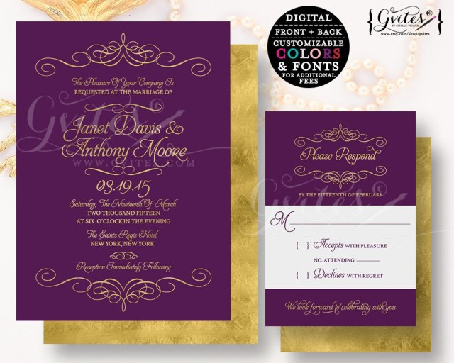 Purple And Gold Wedding Invitations Purple Gold Wedding Invitation Customizable Invites Gold Glitter