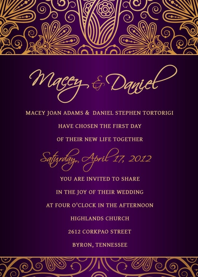 Purple And Gold Wedding Invitations Royal Purple And Gold Damask Wedding Invitation Wedding