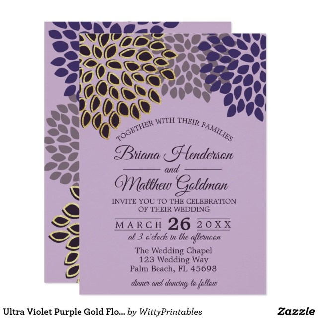 Purple And Gold Wedding Invitations Ultra Violet Purple Gold Floral Wedding Invitation Pinterest
