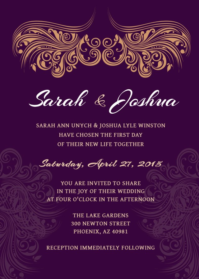 Purple And Gold Wedding Invitations Wedding Invitation Deep Purple Gold Printable Wedding Etsy