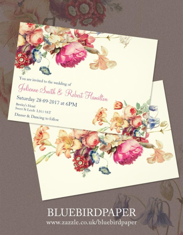 Retro Wedding Invitations Antique Garden A Floral Vintage Wedding Invitations 2460316 Weddbook