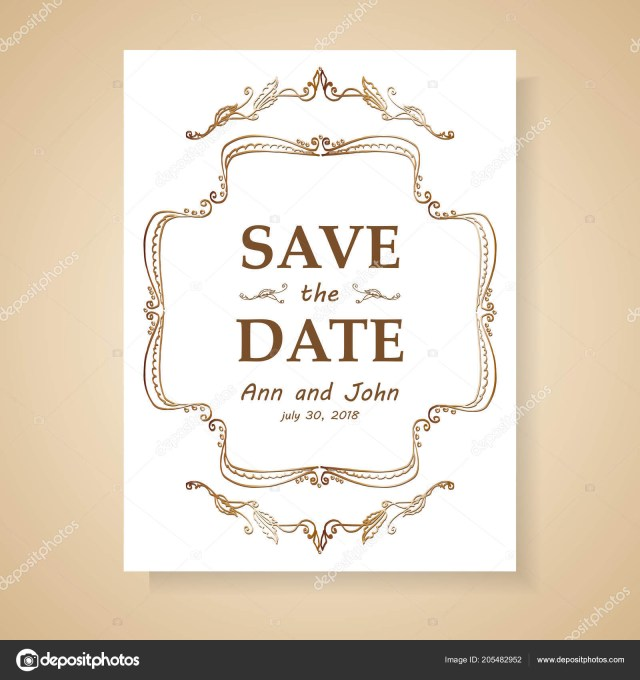 Retro Wedding Invitations Date Retro Wedding Invitation Stockvektor Elentina 205482952