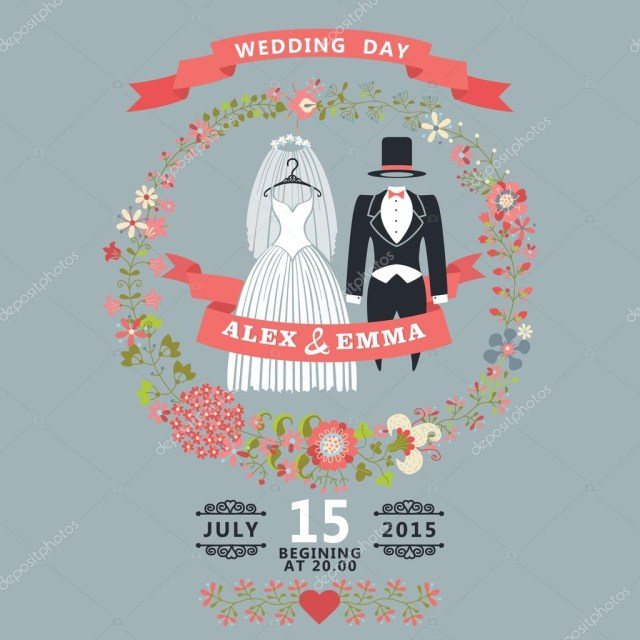 Retro Wedding Invitations Retro Wedding Invitationfloral Elementscartoon Bride Groom