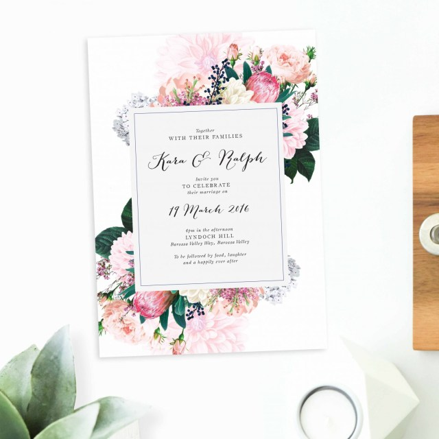 Rose Wedding Invitations Native Floral Wedding Invitations Sail And Swan