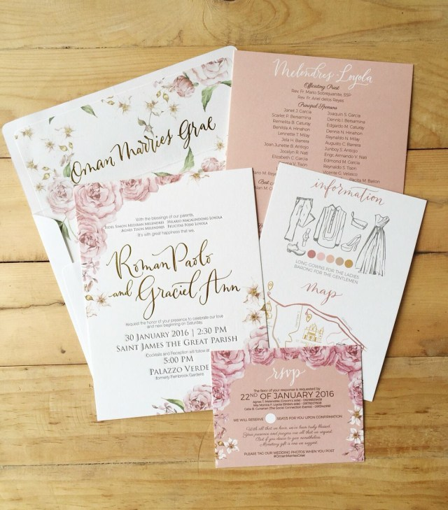 Rose Wedding Invitations Roman Paolo And Graciel Ann Bespoke Suite Old Rose Wedding