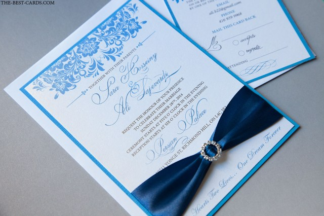 Royal Blue And Silver Wedding Invitations Pauly Poo Wedding Invitation In Royal Blue Color Crystal Buckle