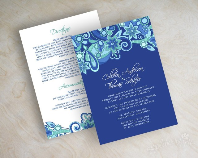 Royal Blue Wedding Invitations 25 Blue Wedding Invitations Cafecanon