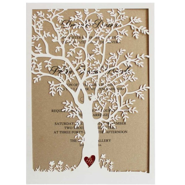 Rustic Fall Wedding Invitations Laser Cut Tree Wedding Invitations Fall Wedding Invitation Cards