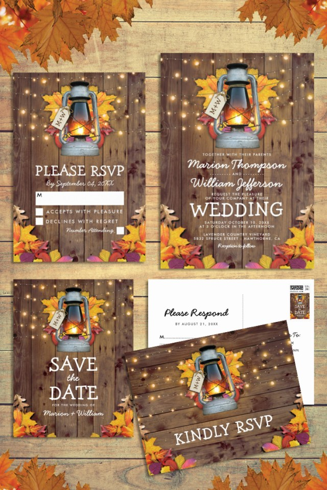 Rustic Fall Wedding Invitations Rustic Autumn Fall Leaves Matching Wedding Invitation Suite
