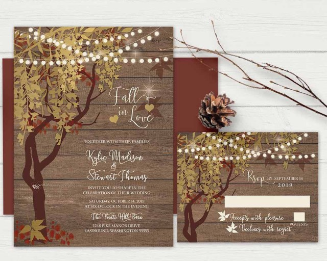 Rustic Fall Wedding Invitations Rustic Fall Wedding Invitation Rustic Gold Tree Wedding Invitations