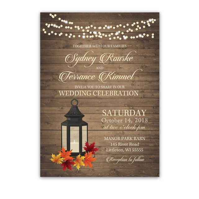 Rustic Fall Wedding Invitations Rustic Fall Wedding Invitations Metal Lantern Autumn Leaves