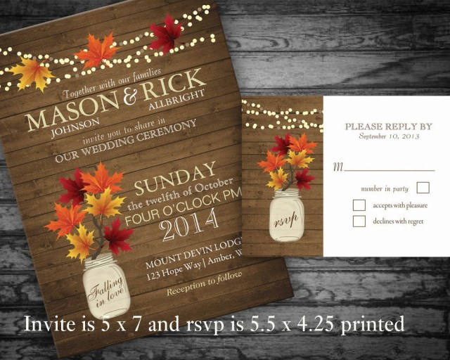 Rustic Fall Wedding Invitations Rustic Fall Wedding Invitations Set Mason Jar Country Wedding Invite