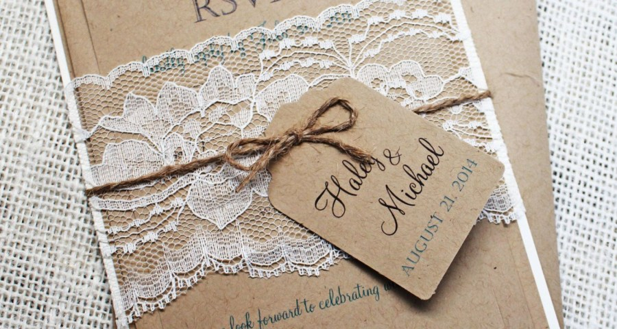 Rustic Wedding Invitation Kits Rustic Lace Wedding Invitation Lace Wedding Invite Country Wedding