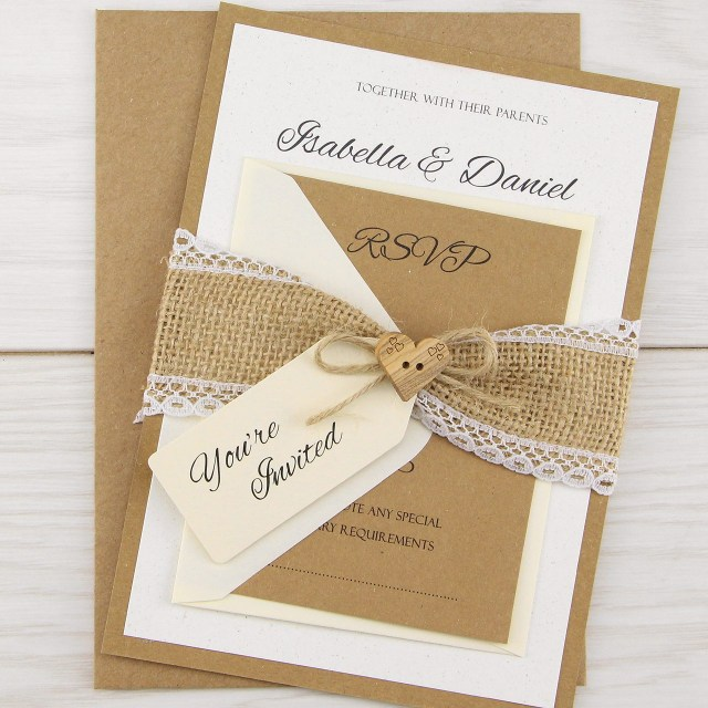 Rustic Wedding Invitations Dakota Parcel Wedding Invitation Pure Invitation Wedding Invites