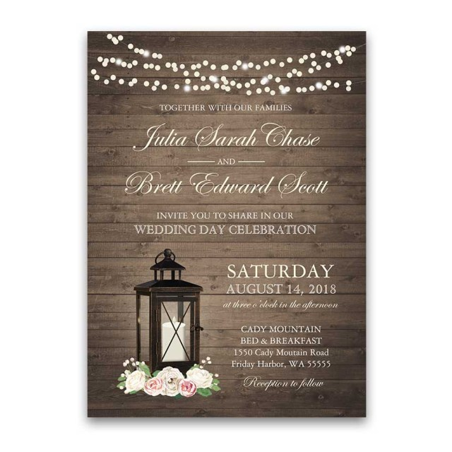 Rustic Wedding Invitations Rustic Wedding Invitations Metal Lantern Blush Florals