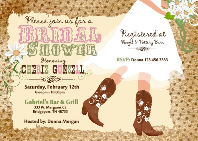 Rustic Wedding Shower Invitations Cowboy Boots Bridal Shower Printable Invitation Weddings