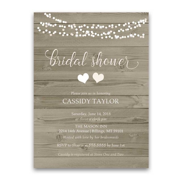 Rustic Wedding Shower Invitations Rustic Bridal Shower Invitation Blush String Lights Barn Wood