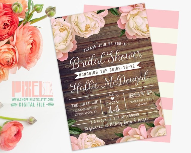 Rustic Wedding Shower Invitations Rustic Bridal Shower Invitation Vintage Peony Barn Wood Style Pink