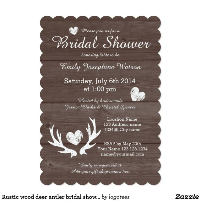 Rustic Wedding Shower Invitations Rustic Wood Deer Antler Bridal Shower Invitations Elegant Brown And