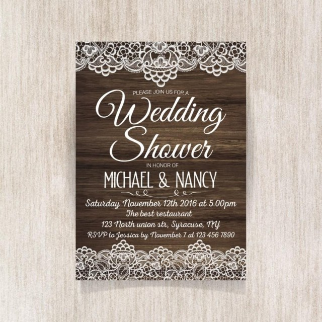 Rustic Wedding Shower Invitations Wedding Shower Invitation Rustic Wedding Party Invitation With
