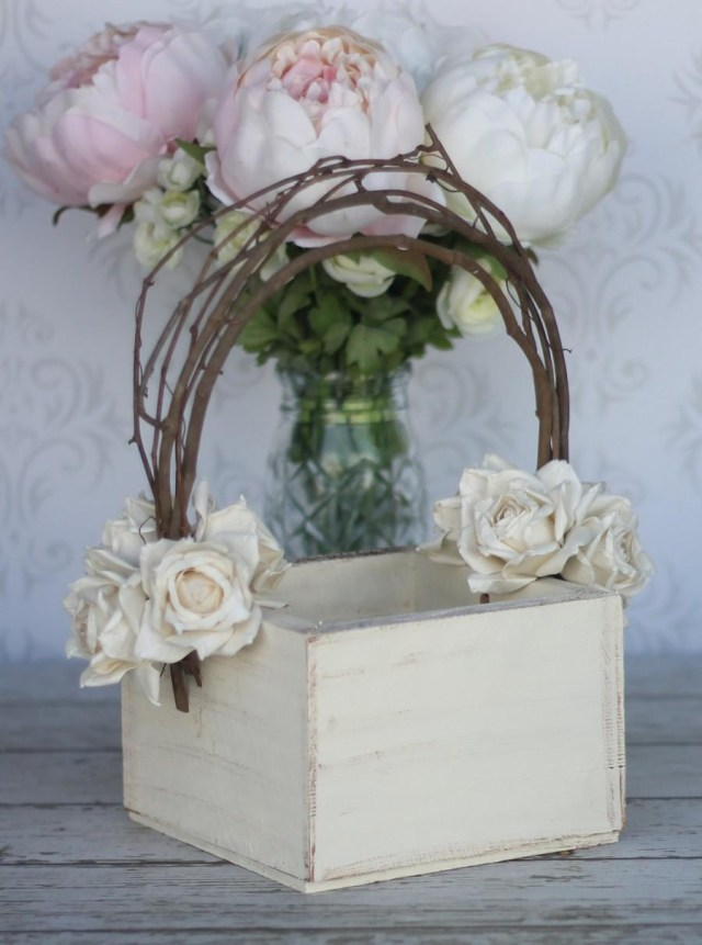 Shabby Chic Wedding Decorations Flower Girl Basket Shab Chic Wedding Decor P10377 2791859