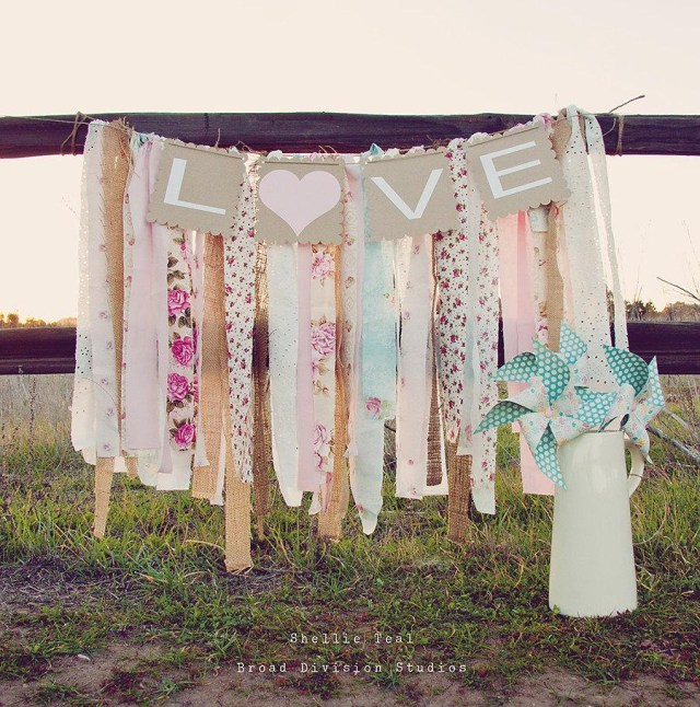 Shabby Chic Wedding Decorations Wedding Banner Love Rag Tie Galand Banner Shab Chic Wedding