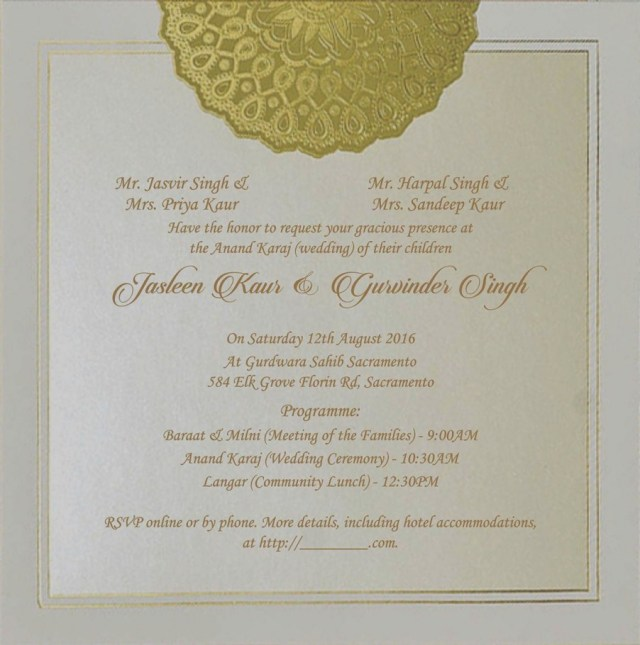 Sikh Wedding Invitations 2019 Sikh Wedding Invitations Eventinvitationtemplates