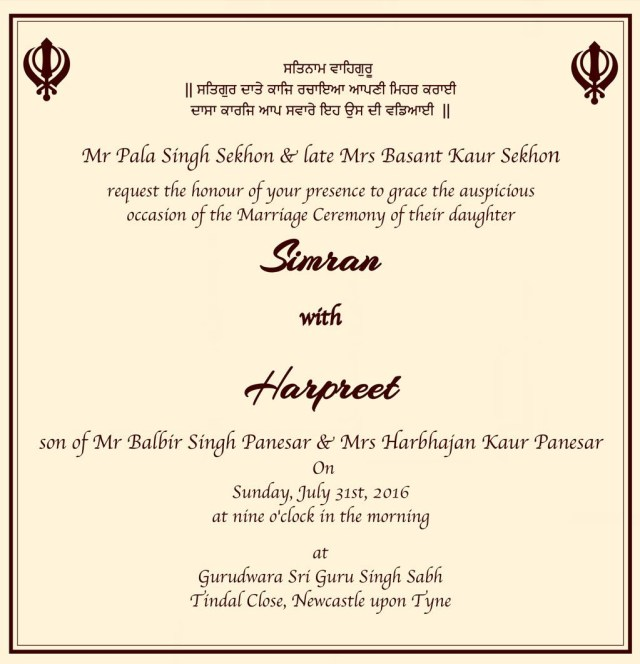 Sikh Wedding Invitations Wedding Cards Wordings 014 Chandpur Pinterest Wedding Cards