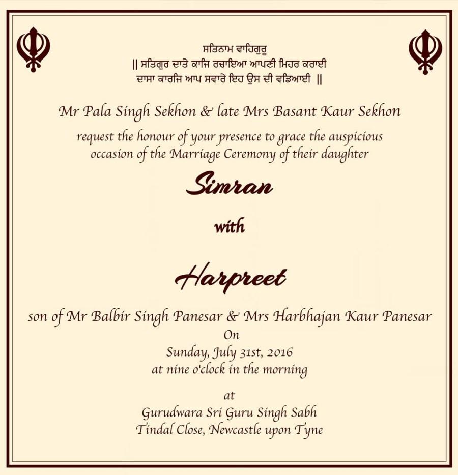 Sikh Wedding Invitations Wedding Cards Wordings 014 Chandpur Pinterest Wedding Cards