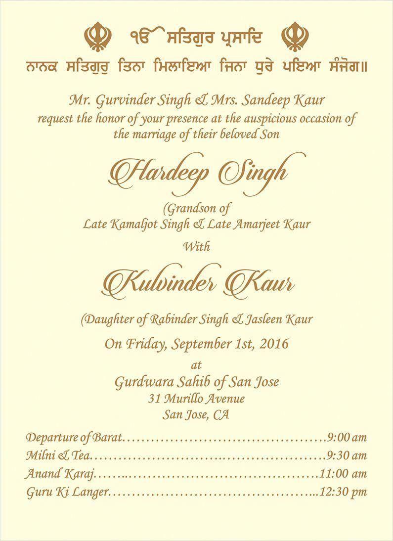 Sikh Wedding Invitations Wedding Invitation Wording For Sikh Wedding Ceremony