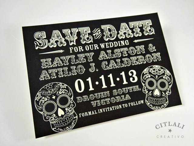 Skull Wedding Invitations Black Day Of The Dead Sugar Skull Wedding Save The Dates Renewal