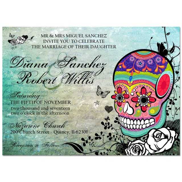 Skull Wedding Invitations Multicolored Sugar Skull Wedding Invite Portrait Style