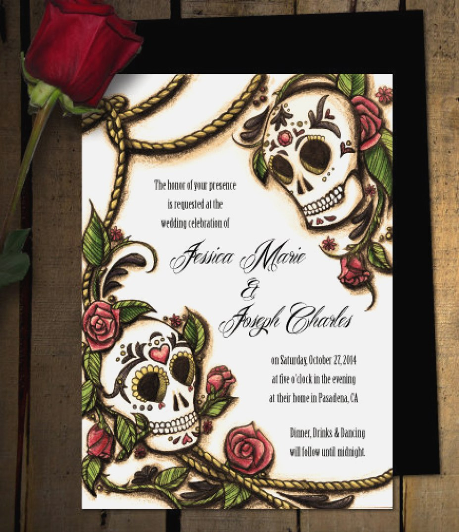 Skull Wedding Invitations Skull Wedding Invitations Beautiful Skeleton Wedding Invitations