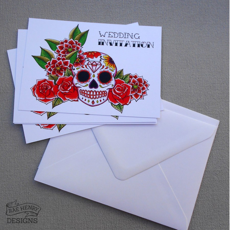 Skull Wedding Invitations Sugar Skull Wedding Invitations Red