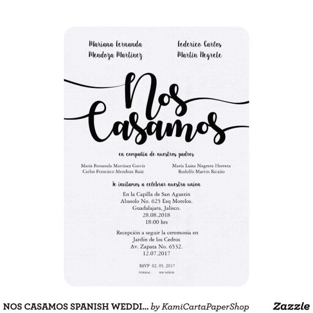 Spanish Wedding Invitations Elegant Spanish Wedding Invitations Examples Of Nos Casamos Spanish
