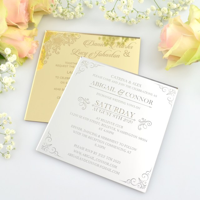Square Wedding Invitations Engraved Square Mirror Acrylic Wedding Invitations Personalized Favors