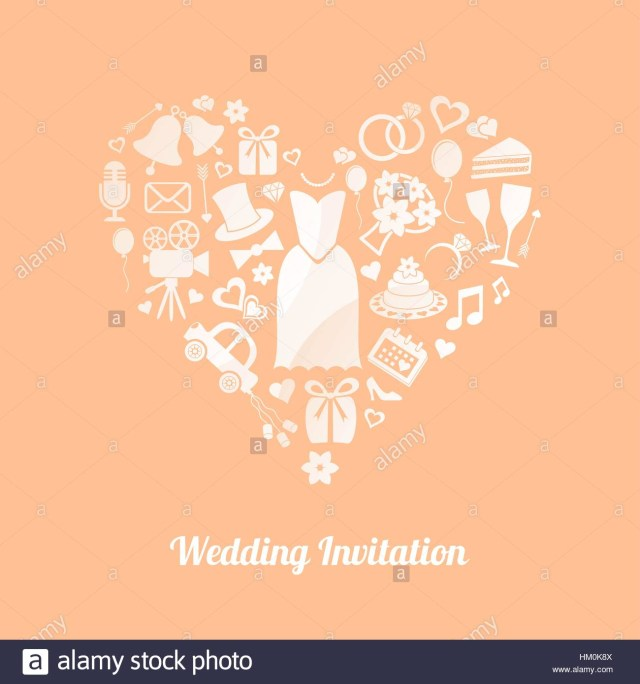 Symbols For Wedding Invitations Apricot Vector Invitation Card With White Wedding Symbols Stock