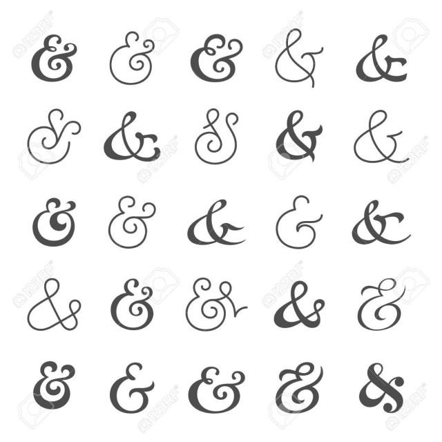 Symbols For Wedding Invitations Big Collection Of Custom Handwritten Ampersands Polished Hand